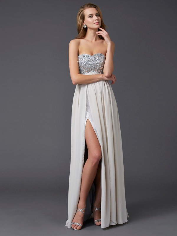 Chic A-Line Sweetheart Sleeveless Long Chiffon Dress
