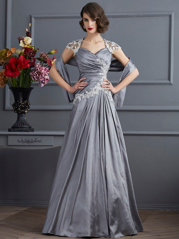Chic A-Line Sweetheart Short Sleeves Long Taffeta Dress
