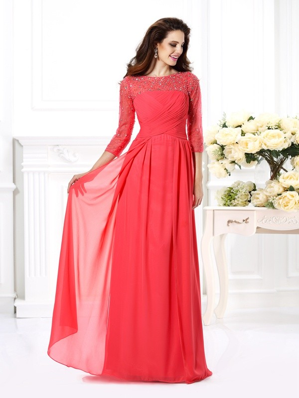 Exquisite A-Line Scoop 3/4 Sleeves Long Chiffon Dress