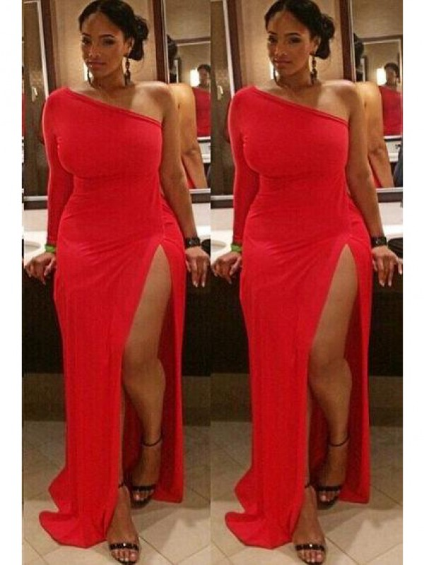 Classical Sheath One-Shoulder Long Sleeves Sweep/Brush Train Spandex Plus Size Dress
