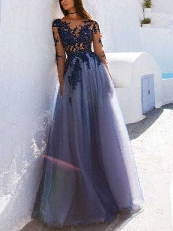 Unique A-Line Scoop Long Sleeves Floor-Length Tulle Dress