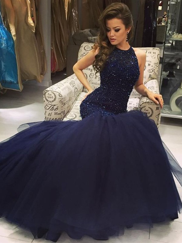 Perfect Mermaid Sleeveless Floor-Length Jewel Tulle Dress