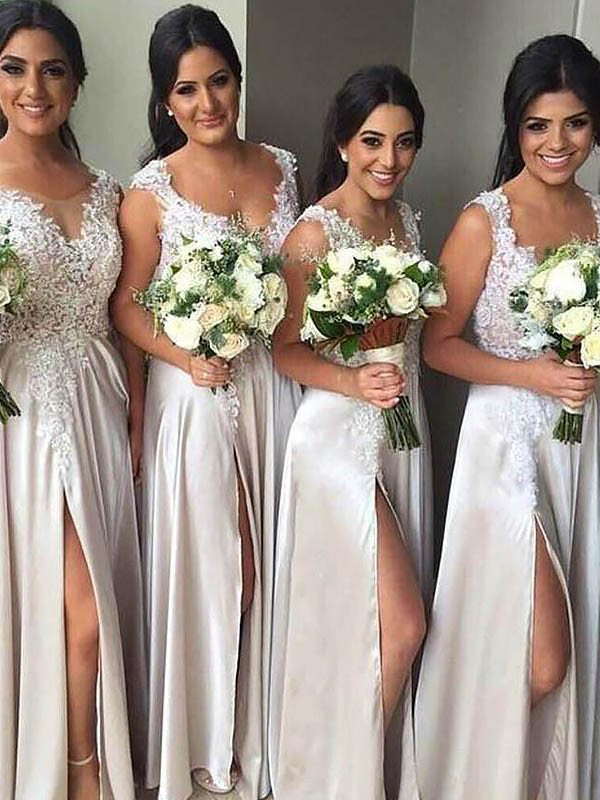 Exquisite Sheath V-neck Silk like Satin Sleeveless Floor-Length Bridesmaid Dress