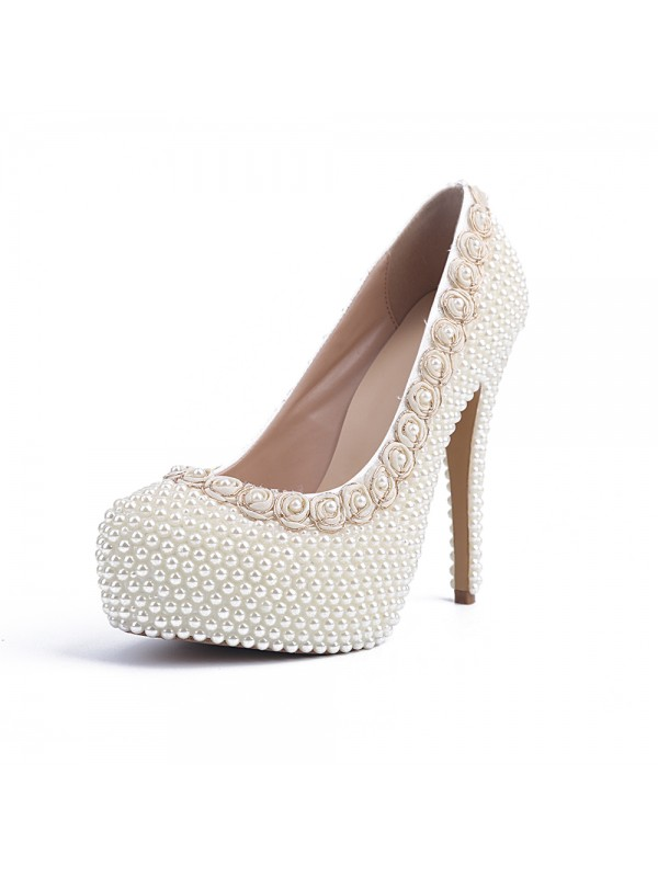 Classical Women Patent Leather Closed Toe Stiletto Heel Platform Pearl White Wedding Shoes