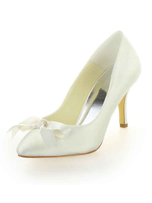 Classical Women Stiletto Heel Satin Closed Toe Ivory Wedding Shoes