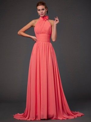 Elegant A-Line Halter Sleeveless Long Chiffon Bridesmaid Dress