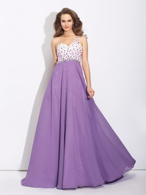 Nice A-Line One-Shoulder Sleeveless Long Chiffon Dress
