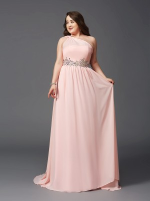Nice A-Line One-Shoulder Sleeveless Long Chiffon Plus Size Dress