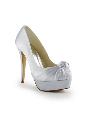 Fashion Women Satin Stiletto Heel Pumps White Wedding Shoes