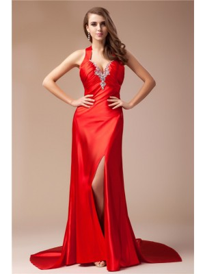 Hot Sale Sheath V-neck Sleeveless Long Elastic Woven Satin Dress