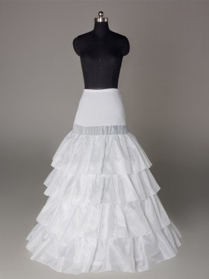 New Nylon A-Line 4 Tier Floor Length Slip Wedding Petticoat