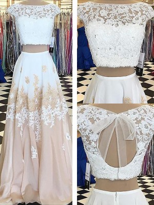 Fashion A-Line Sleeveless Bateau Chiffon Lace Floor-Length Two Piece Dress
