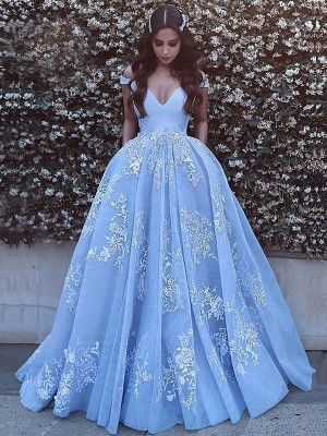 Fashion Ball Gown Sleeveless Off-the-Shoulder Tulle Sweep/Brush Train Dress