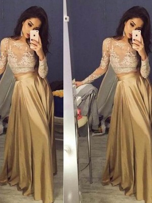 Stunning A-Line Long Sleeves Scoop Taffeta Floor-Length Two Piece Dress