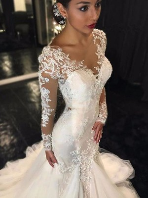 Discount Mermaid V-neck Long Sleeves Lace Court Train Tulle Wedding Dress