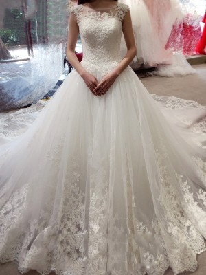 Affordable Ball Gown Sleeveless Bateau Court Train Tulle Wedding Dress
