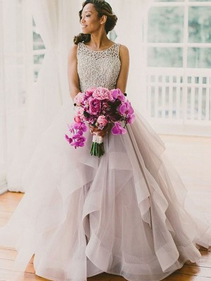 Affordable Ball Gown Sleeveless Scoop Floor-Length Tulle Wedding Dress