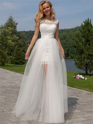 Affordable Sheath Sleeveless Lace Scoop Floor-Length Tulle Wedding Dress