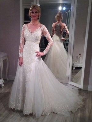 Affordable A-Line V-neck Sweep/Brush Train Long Sleeves Sequin Tulle Wedding Dress