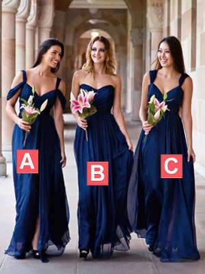 Exquisite A-Line Chiffon Floor-Length Sleeveless Bridesmaid Dress