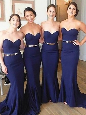 Exquisite Mermaid Sweetheart Sweep/Brush Train Sleeveless Satin Bridesmaid Dress