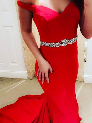 Stunning Mermaid Off-the-Shoulder Sleeveless Sweep/Brush Train Satin Dress