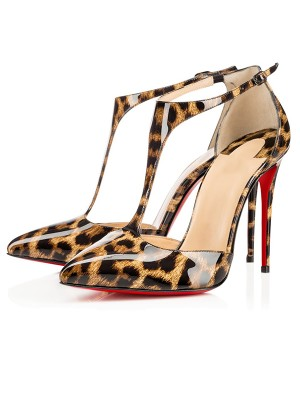 Beautiful Women Leopard Print Patent Leather Stiletto Heel Sandals Shoes