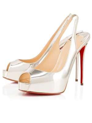 Beautiful Women Peep Toe Patent Leather Stiletto Heel Platform Silver Sandals Shoes
