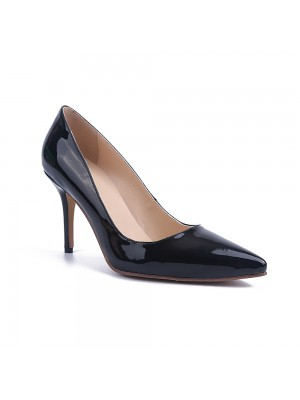 Beautiful Women Black Stiletto Heel Patent Leather Closed Toe Office High Heels