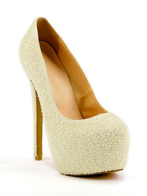 Fashion Women Stiletto Heel Closed Toe Platform Pearl High Heels