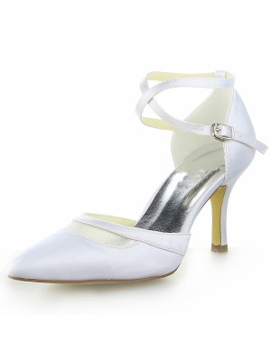 Classical Women White Satin Closed Toe Spool Heel Buckle White Wedding Shoes
