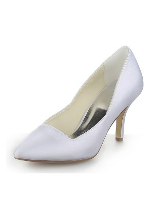 Classical Women Closed Toe Satin Stiletto Heel Dress White Wedding Shoes