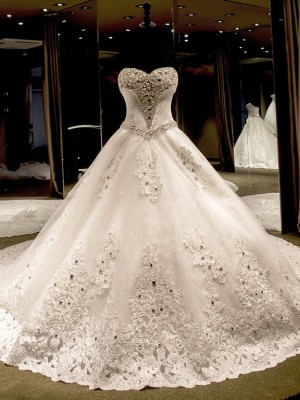 Stylish Ball Gown Sleeveless Sweetheart Cathedral Train Sequin Tulle Wedding Dress