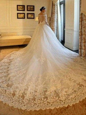 Fashion Ball Gown Off-the-Shoulder Cathedral Train 3/4 Sleeves Tulle Wedding Dress