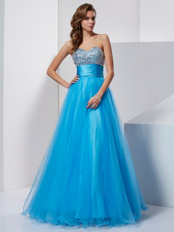 Beautiful A-Line Sweetheart Sleeveless Long Tulle Dress