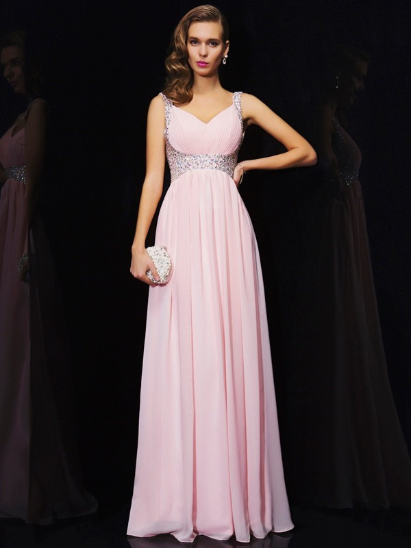 Beautiful A-Line Sleeveless V-neck Long Chiffon Dress