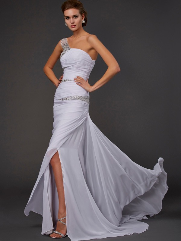 Beautiful Sheath Sleeveless One-Shoulder Long Chiffon Dress
