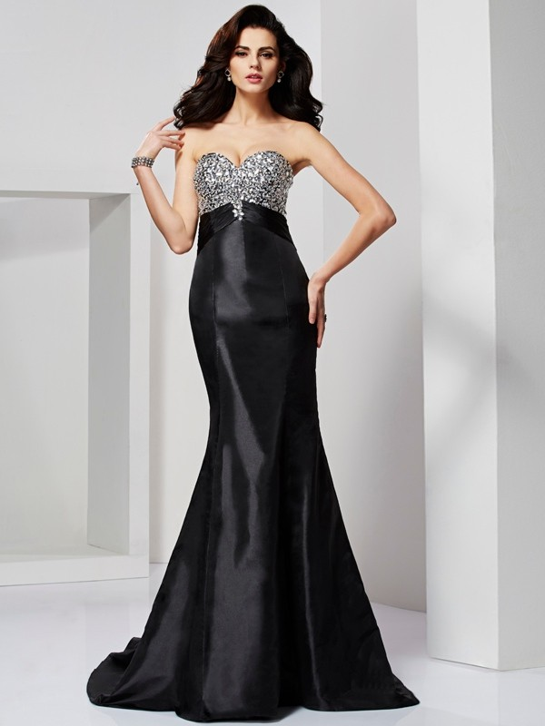 Beautiful Mermaid Sweetheart Sleeveless Long Taffeta Dress