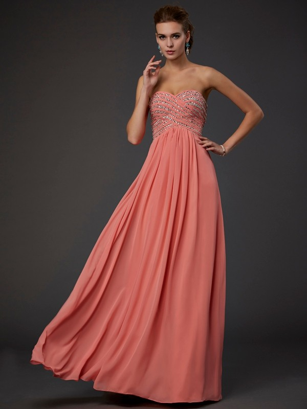 Beautiful A-Line Sweetheart Sleeveless Long Chiffon Dress