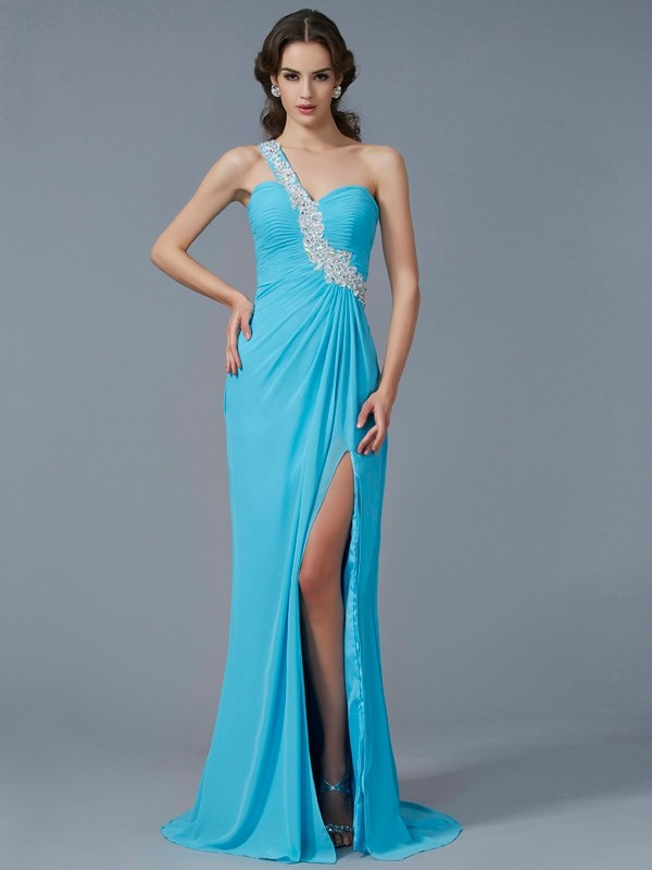 Beautiful Sheath One-Shoulder Sleeveless Long Chiffon Dress