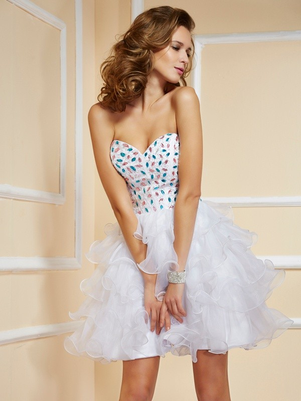 Beautiful A-Line Sweetheart Sleeveless Short Organza Homecoming Dress