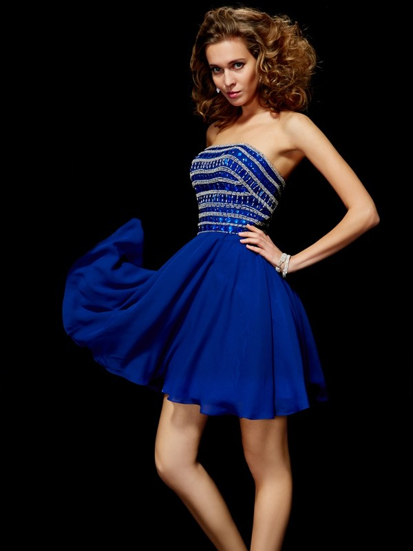 Beautiful A-Line Strapless Sleeveless Short Chiffon Homecoming Dress