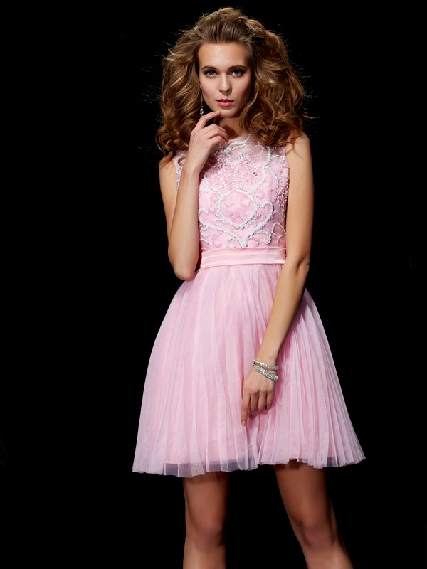 Beautiful A-Line Scoop Short Elastic Woven Satin Homecoming Dress
