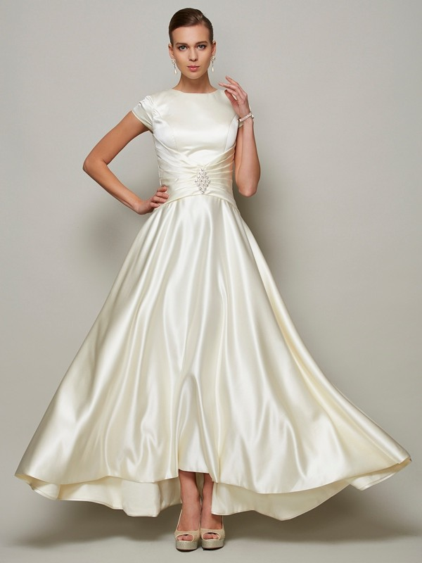 Elegant A-Line Scoop Short Sleeves Long Satin Mother of the Bride Dress