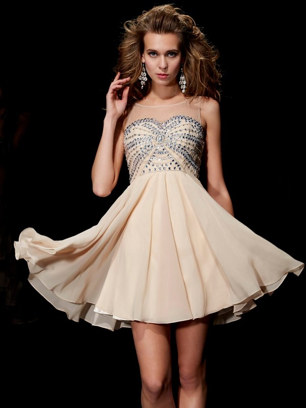 Elegant A-Line Sleeveless Scoop Short Chiffon Homecoming Dress