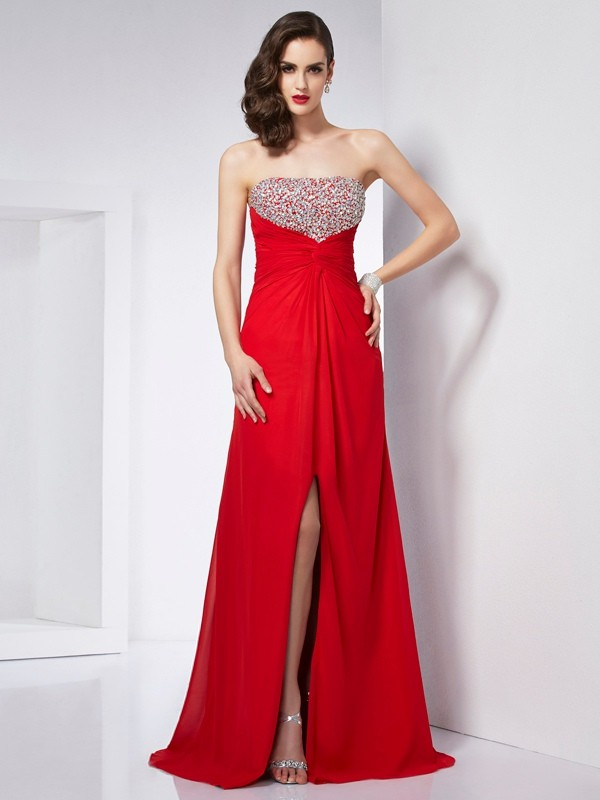 Elegant A-Line Sleeveless Strapless Long Chiffon Dress