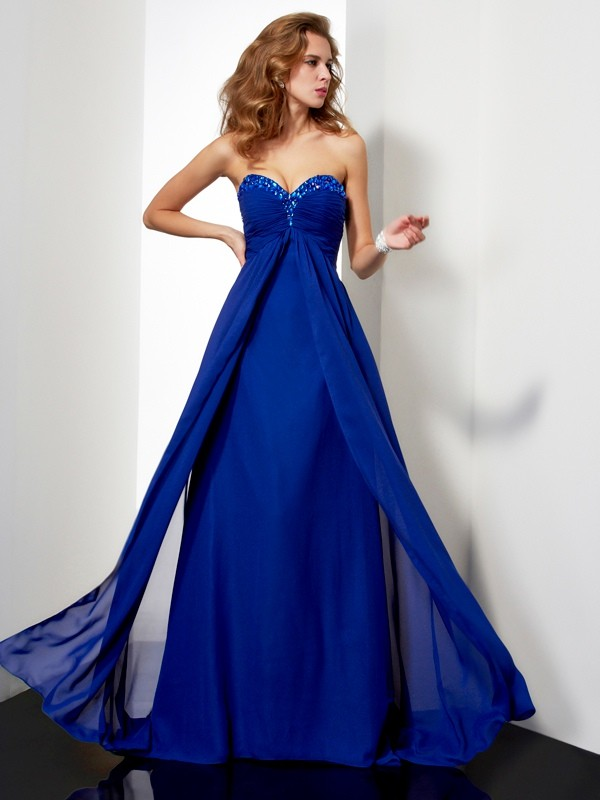 Elegant A-Line Sleeveless Sweetheart weep/Brush Train Chiffon Dress