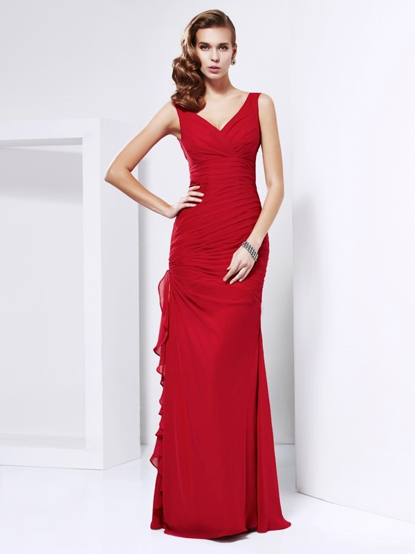 Elegant Sheath V-neck Sleeveless Long Chiffon Dress