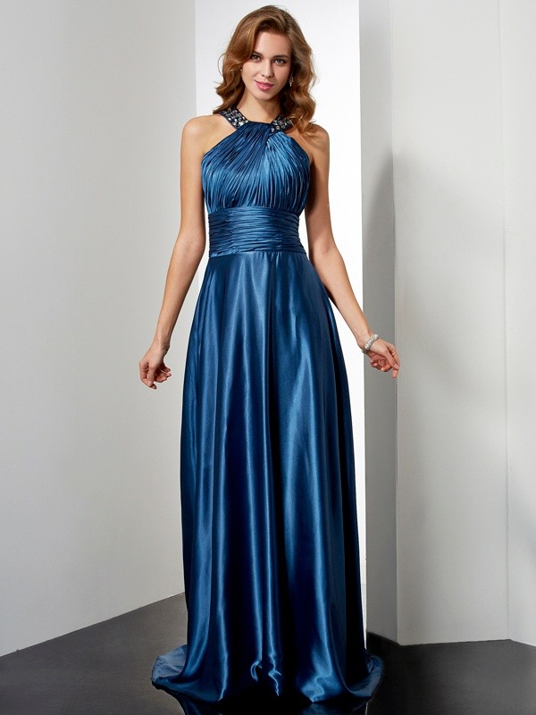 Elegant A-Line Halter Sleeveless Long Elastic Woven Satin Dress