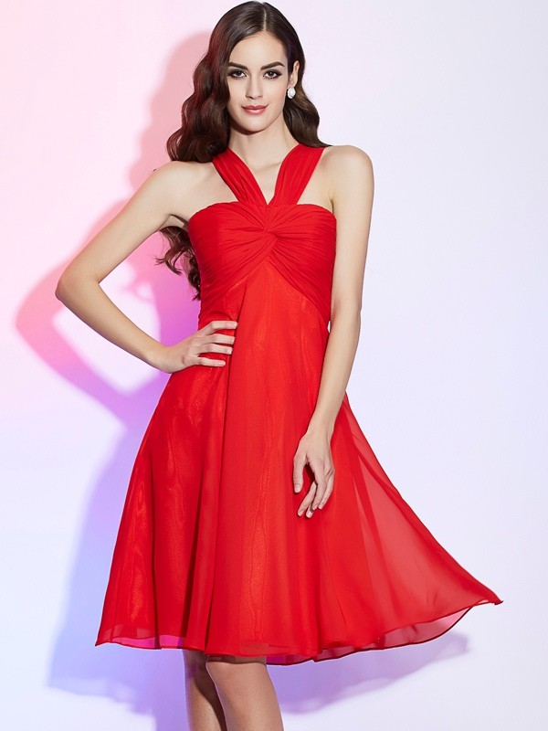 Elegant A-Line Halter Sleeveless Short Chiffon Bridesmaid Dress